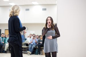 Kelli O'Hara works with student Tierney Bent at BYU