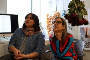 Artist Nina Katchadourian works with student Annelise Duque Photo Credit Rebecca Sumsion